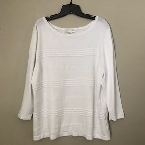 Christopher & Banks White Scoop Neck Sweater